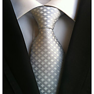 cheap Men's Accessories-Men's Polyester Necktie,Work Casual Lattice All Seasons Silver