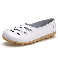baratos Sapatos Femininos-Mulheres Sapatos Couro Ecológico Verão Conforto Sandálias Sem Salto Ponta Redonda Branco / Preto / Vermelho