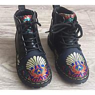 女の子 靴 PUレザー 冬 秋 コンフォートシューズ コンバットブーツ ブーツ ウォーキング ミドルブーツ アニマルプリント 編み上げ 用途 カジュアル ブラック