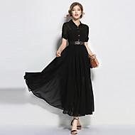 Mulheres balanço Vestido Sólido Colarinho de Camisa Longo