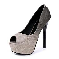 baratos -Feminino Sapatos Tule Primavera Verão Plataforma Básica Saltos Salto Agulha Peep Toe para Casual Dourado Prata Fúcsia