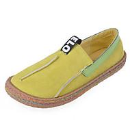 Feminino Sapatos Flocagem Primavera Outono Conforto Mocassins e Slip-Ons Raso Ponta Redonda para Casual Preto Amarelo Castanho Escuro