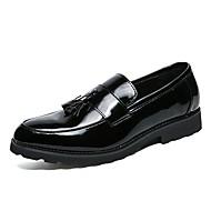 お買い得  大きいサイズ/小さいサイズ 靴-男性用 靴 エナメル / オーダーメイド素材 秋 / 冬 コンフォートシューズ / フォーマルシューズ ローファー&スリップアドオン ブラック / リボン / パーティー