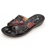 お買い得  レディーススリッパ&フリップフロップ-女性用 靴 PUレザー 夏 コンフォートシューズ スリッパ&フリップ・フロップ フラットヒール ラウンドトウ のために カジュアル ブラック レッド