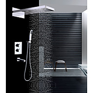 cheap Shower Faucets-Contemporary Wall Mounted Rain Shower Waterfall Handshower Included Thermostatic Ceramic Valve Two Handles Four Holes Chrome, Shower