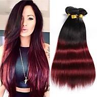 お買い得  グラデーションカラー・ヘアエクステンション-ブラジリアンヘア ストレート 人間の髪織り 3本 0.3