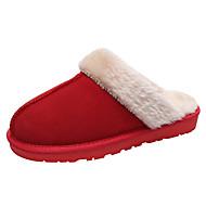 Mulheres Sapatos Camurça / Pele Outono / Inverno Forro de peles Chinelos e flip-flops Sem Salto Ponta Redonda / Dedo Fechado Marron /
