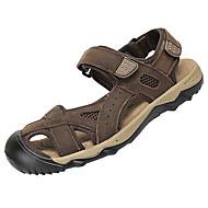 お買い得  メンズサンダル-男性用 靴 レザー 夏 秋 ライト付きソール サンダル のために カジュアル コーヒー Brown アーミーグリーン