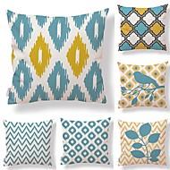 tanie Zestawy poduszki-6 szt Tekstylny Cotton / Linen Pokrywa Pillow, Groszki Prążki Geometryczny