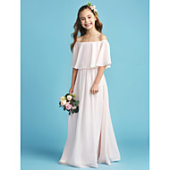 cheap -A-Line / Princess Off Shoulder Floor Length Chiffon Junior Bridesmaid Dress with Pleats by LAN TING BRIDE®