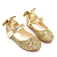 cheap Flower Girl Shoes-Girls' Shoes Paillette Spring Fall Flower Girl Shoes Ballerina Flats Bowknot Sequin Magic Tape for Party & Evening Dress Gold Silver
