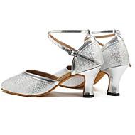 billige Moderne sko-Moderne Paljett Sandaler Høye hæler Sløyfer Kustomisert hæl Sølv Kan spesialtilpasses