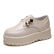 Feminino Sapatos Couro Ecológico Primavera Outono Conforto Mocassins e Slip-Ons Sem Salto Ponta Redonda para Casual Preto Bege
