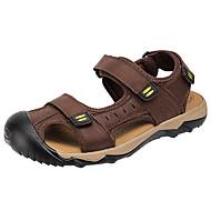 お買い得  メンズサンダル-男性用 靴 レザー 夏 秋 ライト付きソール サンダル のために カジュアル ライトブラウン ダークブラウン