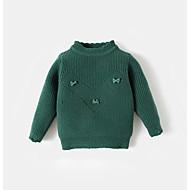 billige Sweaters og cardigans til babyer-Pige Trøje og cardigan Ensfarvet, Akryl Forår Langærmet Simple Brun Grøn