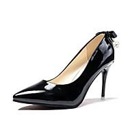 Feminino Sapatos Couro Ecológico Primavera Conforto Saltos Salto Agulha Dedo Apontado Laço para Casual Preto Cinzento Vermelho Rosa claro