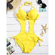Dámské Jednobarevné Monokini Plavky Jednobarevné Vystřihnout Lodičkový Žlutá Fuchsiová