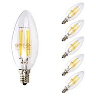 tanie Więcej Kupujesz, Więcej Oszczędzasz-GMY® 6szt 3.5W 350 lm E12 Żarówka dekoracyjna LED B10 4 Diody lED COB Przysłonięcia Dekoracyjna LED Light Ciepła biel AC 110-130V