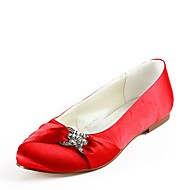 cheap Women's Shoes-Women's Shoes Silk Spring Summer Ballerina Wedding Shoes Flat Heel Closed Toe Rhinestone for Wedding Party & Evening Red