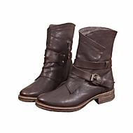 baratos Sapatos Femininos-Mulheres Sapatos Couro / Pele Napa Outono / Inverno Conforto / Curta / Ankle Botas Salto Robusto Café