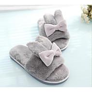 cheap -Women's Flocking Fall / Winter Comfort Slippers & Flip-Flops Flat Heel Gray / Peach / Pink