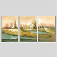 billiga Landskapsmålningar-HANDMÅLAD Landskap Vertikal panoramautsikt, Moderna Hang målad oljemålning Hem-dekoration Tre paneler