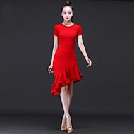 Χαμηλού Κόστους -Λάτιν Χοροί Φορέματα Γυναικεία Επίδοση Μοντάλ Πλισέ Κοντομάνικο Ψηλό Φόρεμα