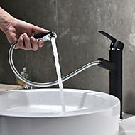 billige Rabatt Kraner-Moderne Centersat Træk-udsprøjte Keramisk Ventil Enkelt Håndtak Et Hull Svart, Baderom Sink Tappekran
