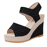 baratos Sapatos Femininos-Calcanhares Renda Primavera / Verão Conforto Sandálias Salto Plataforma Preto / Bege