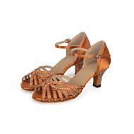 Boty na latinskoamerické tance Hedvábí Sandály   Podpatky akrylový diamant  Rozšiřující se Obyčejné Taneční boty Černá   Šedá   Hnědá 6bbbeedda4