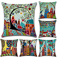 cheap Throw Pillows-Pack of 5, Botanical Bohemian Style Retro Cotton Linen Decorative Square Throw Pillow Covers Set Cushion Case for Sofa Bedroom Car