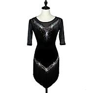 Latino ples Haljine Žene Seksi blagdanski kostimi Baršun Kristali / Rhinestones Rukava do lakta Visok Crystal