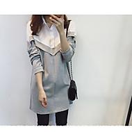 Ženske Jednostavan Ležerno/za svaki dan Majica Haljina,Color block Dugi rukav Kragna košulje Iznad koljena Pamuk Drugo Jesen Normalan