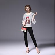 V-hals Farveblok Forår Efterår Sødt Daglig I-byen-tøj T-shirt,Bomuld Polyester