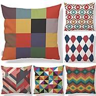 tanie Zestawy poduszki-6 szt Tekstylny Cotton / Linen Pokrywa Pillow, Prążki Kratka Geometryczny