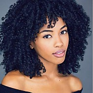 Synthetic Wig Curly / Kinky Curly Pixie Cut / With Bangs Synthetic Hair African American Wig Black / Brown Wig Lace Front