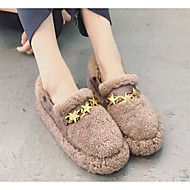 זול מוקסינים לנשים-נשים נעליים פרווה חורף סתיו נוחות נעליים ללא שרוכים שטוח ל קזו'אל שחור בז' חום