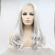Synthetische Lace Front Perücken Natürlich gewellt Kardashian Stil Seitenteil Spitzenfront Perücke Silber Silber Synthetische Haare 20-24 Zoll Damen Natürlicher Haaransatz Silber Perücke Lang 180
