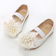 cheap Girls' Shoes-Girls' Shoes PU Spring Fall Flower Girl Shoes Novelty Flats Rivet Gore for Party & Evening Dress White Pink