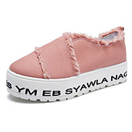 cheap Women's Slip-Ons & Loafers-Women's Shoes Canvas Spring Fall Comfort Loafers & Slip-Ons Creepers for Casual White Black Pink