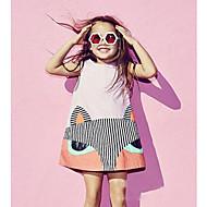 Dijete Djevojka je Pamuk Lan Bambus vlakna Akril Jednobojni Životinjski uzorak Dnevno Proljeće Bez rukávů Haljina Jednostavan Crn