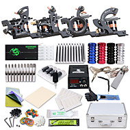 cheap Discount Tattoo Kits-Tattoo Machine Professional Tattoo Kit 4 cast iron machine liner & shader High Quality LCD power supply 2 x stainless steel grip 50