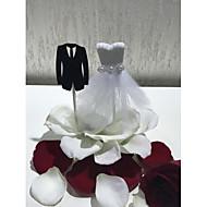 Tortadísz Esküvő Menyasszonyi Klasszikus pár Kiváló minőségű papír Esküvő Parti val vel Hamisgyöngy Csipke 1 OPP