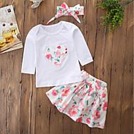 مجموعة ملابس قطن كم طويل ورد / مطرز مناسب للخارج كاجوال / رياضي Active للفتيات طفل صغير / جميل