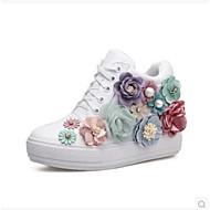 للمرأة أحذية PU ربيع خريف مريح أحذية رياضية كعب مسطخ حذاء يغطي أصبع القدم البوط القصير/ بوط الكاحل إلى فضفاض الأماكن المفتوحة أبيض أسود