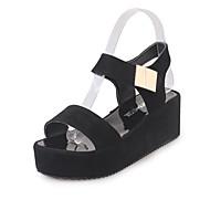 baratos Sapatos Femininos-Mulheres Sapatos Couro Ecológico Verão Chanel Sandálias Dedo Apontado Pedrarias Branco / Preto / Calcanhares