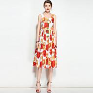 Žene Slatko Boho Swing kroj Haljina Cvjetni print S naramenicama Midi Do koljena
