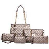 お買い得  バッグセット-女性用 バッグ PU バッグセット 5個の財布セット ジッパー シャンパン / ブラック / フクシャ