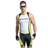 Nuckily 男性用 半袖 トライスーツ - グリーン 幾何学的な バイク 人間工学デザイン, 抗紫外線, 高通気性 ポリエステル / スパンデックス