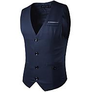 สำหรับผู้ชาย ทุกวัน ฤดูร้อน / ฤดูหนาว ปกติ เสื้อกั๊ก, สีพื้น คอวี เสื้อไม่มีแขน เส้นใยสังเคราะห์ สีดำ / สีน้ำเงินกรมท่า / เทาอ่อน L / XL / XXL / ธุรกิจอย่างเป็นทางการ / เพรียวบาง